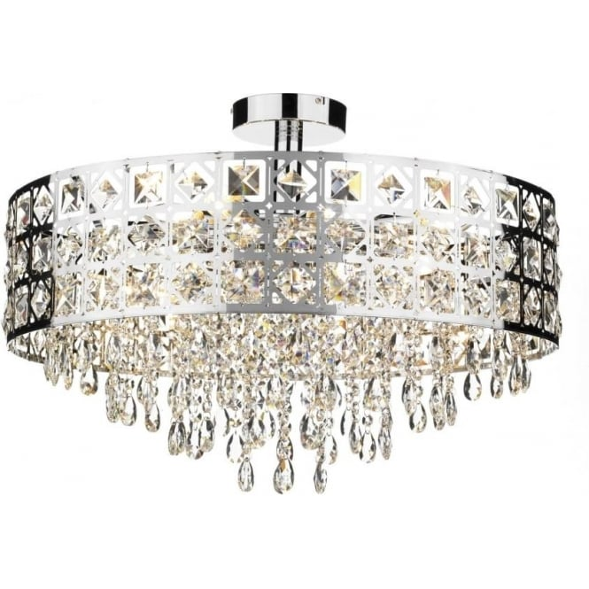 Dar DUC0650 Duchess 6 light crystal ceiling light polished chrome finish