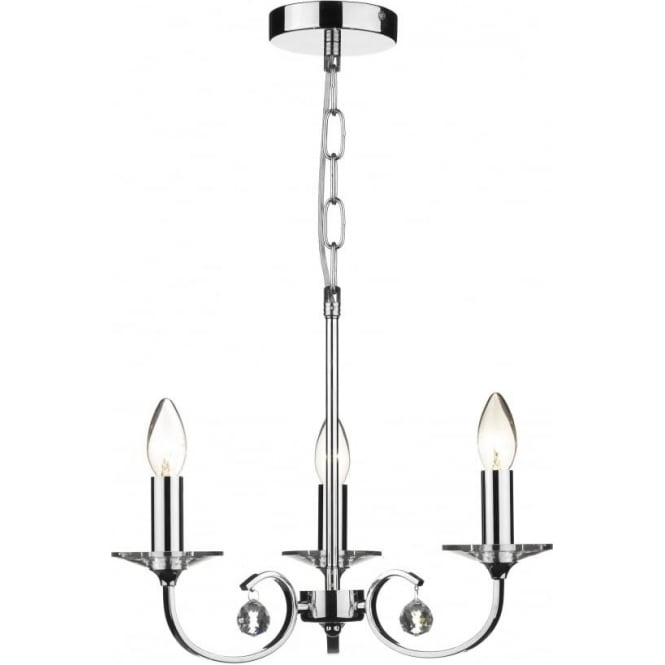 Dar ALL0350 Allegra 3 Light Ceiling Light Polished Chrome