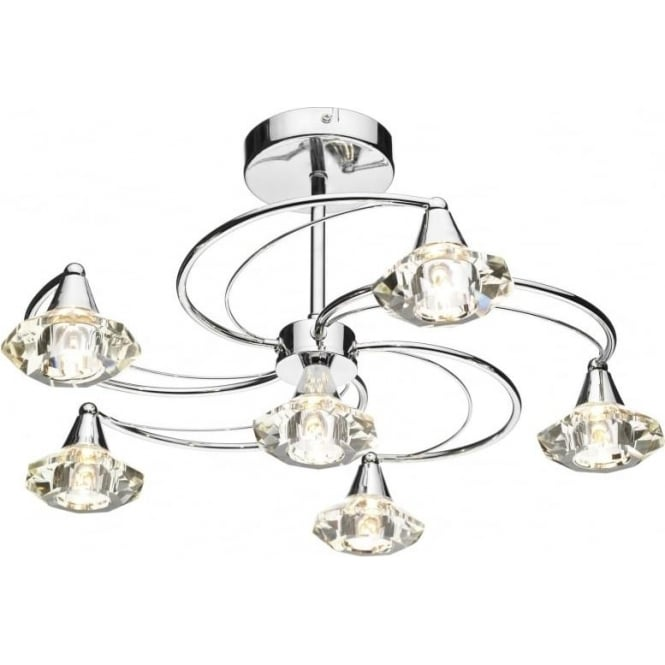 Dar LUT0650 Luther 6 Light Crystal Ceiling Light Polished Chrome