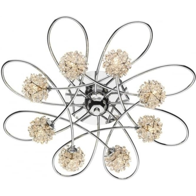 Dar ALO0850 Alonso 8 light crystal ceiling light polished chrome finish