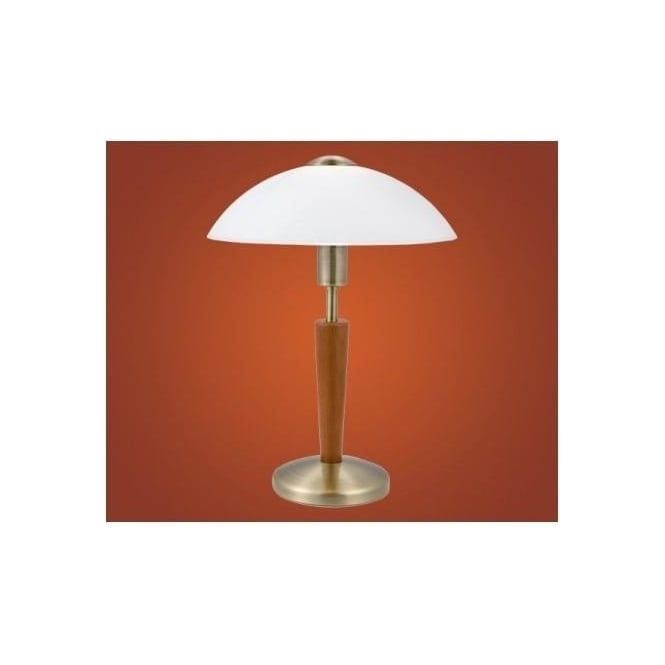 87256 solo1 1 light modern table lamp domed white frosted glass shade dark wood effect stand