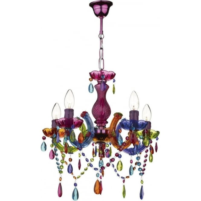 Dar SOU0555 Souk 5 Light Multi Colour Chandelier