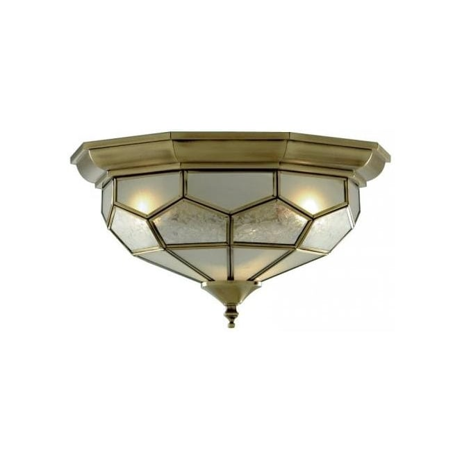 Searchlight 1243-12 Flush 2 Light Flush Ceiling Light Antique Brass