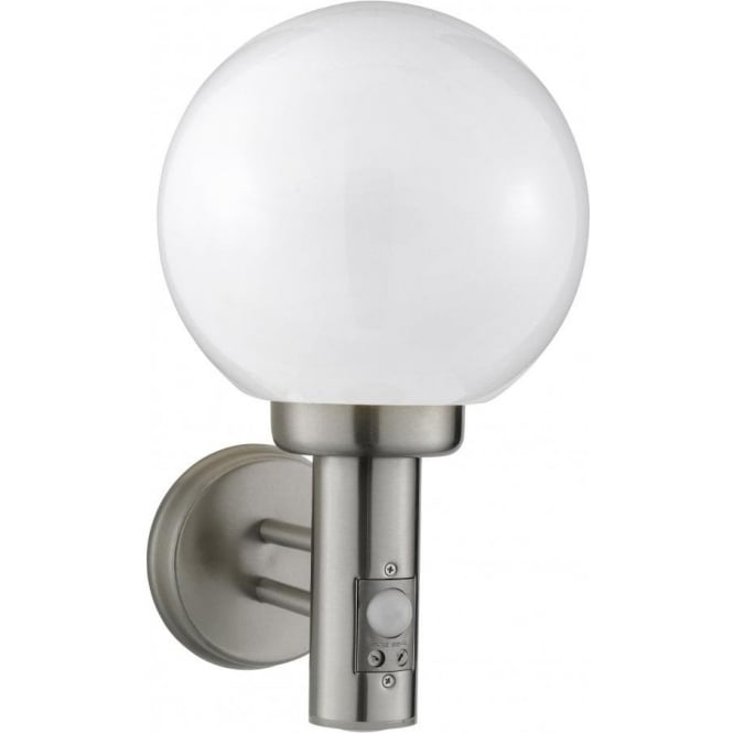 Searchlight 085 outdoor wall light with motion sensor 085 1 light outdoor wall light brushed chrome ip44 aloadofball Choice Image
