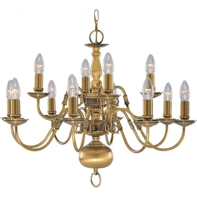 Searchlight 1019-12AB Flemish 12 Light Ceiling Light Solid Antique Brass