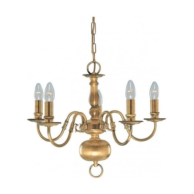 Searchlight 1019-5AB Flemish 5 Light Ceiling Pendant Solid Antique Brass