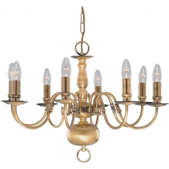 Searchlight 1019-8AB Flemish 8 Light Ceiling Pendant Light Solid Antique Brass