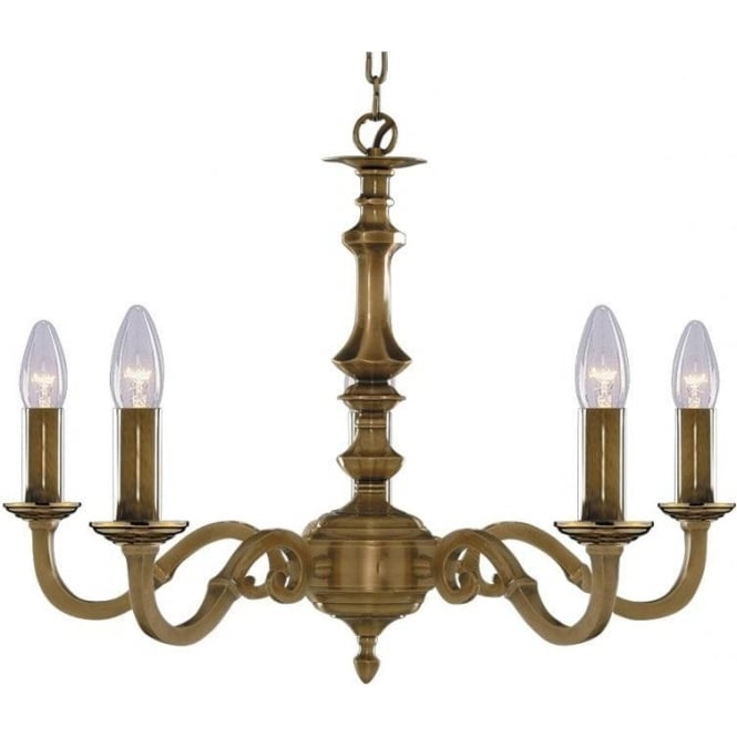 Searchlight 1075-5NG Malaga 5 Light Ceiling Light Solid Antique Brass