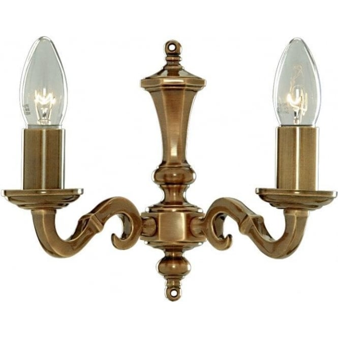 Searchlight 1072-2NG Malaga 2 Light Wall Light Solid Antique Brass
