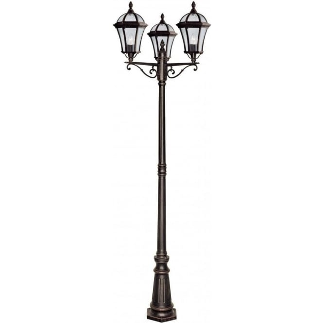 Searchlight 1569 3 capri rustic brown outdoor lamp post 1569 3 capri 3 light outdoor amp garden lamp post rustic brown bevelled glass aloadofball Images