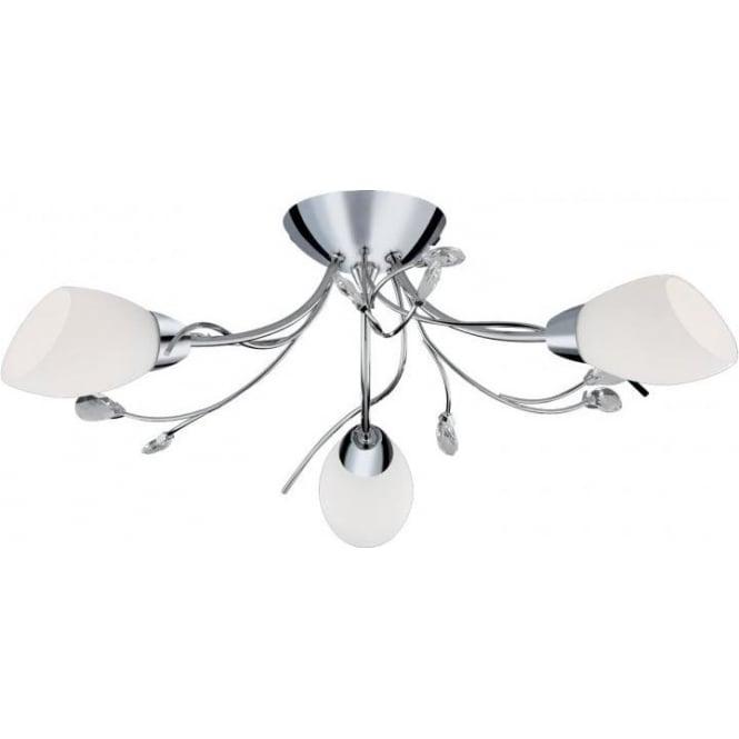 1763 3cc gardenia 3 light semi flush ceiling light polished chrome