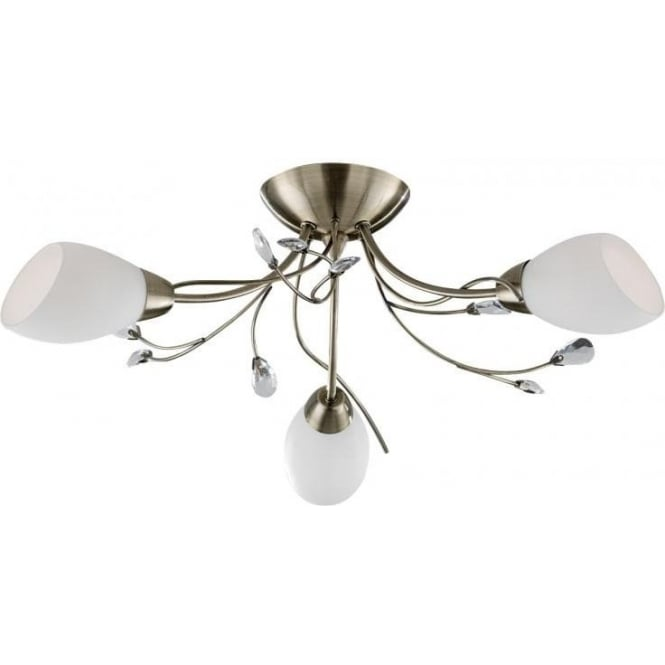 Searchlight 1763-3AB Gardenia 3 Light Semi-Flush Ceiling Light Antique Brass