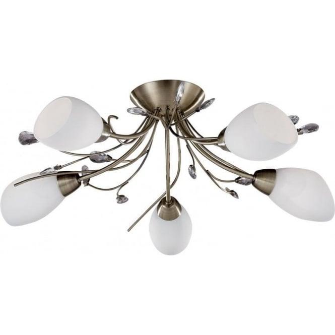 1765 5ab gardenia 5 light semi flush ceiling light antique brass