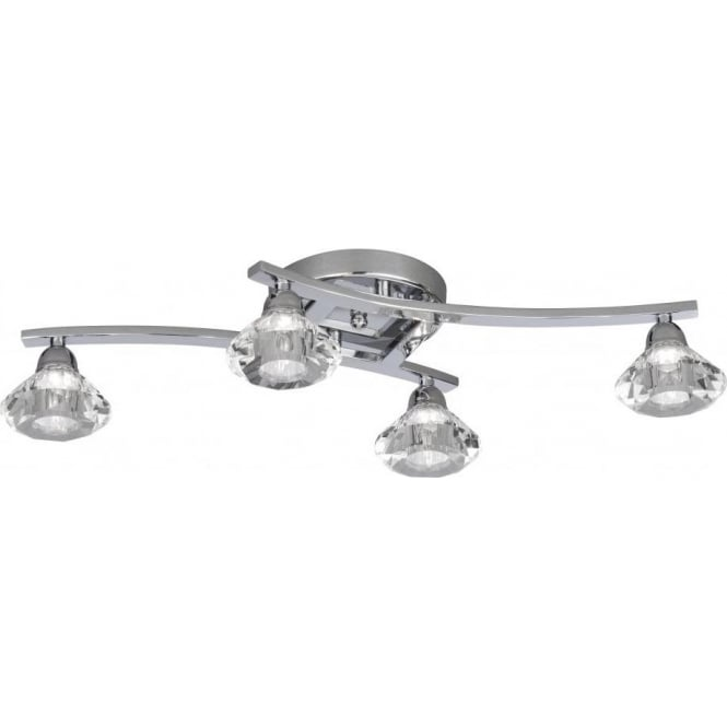 Searchlight 9014-4CC Sculptured Ice 4 Light Semi-Flush Ceiling Light Polished Chrome