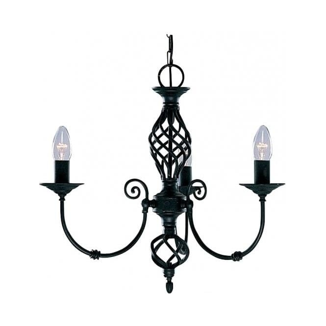 Searchlight 3379-3 Zanzibar 3 Light Ceiling Light Matt Black