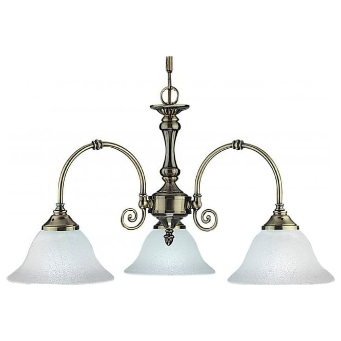 Searchlight 9353-3 Virginia 3 Light Ceiling Light Antique Brass