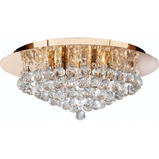 Searchlight 3406-6GO Hanna 6 Light Semi-Flush Ceiling Light Gold