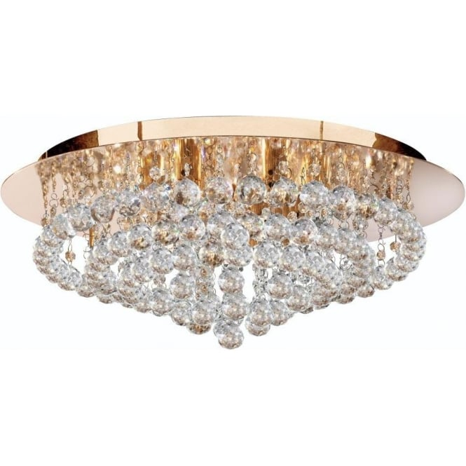 Searchlight 3408-8GO Hanna 8 Light Modern Semi-Flush Ceiling Light Gold