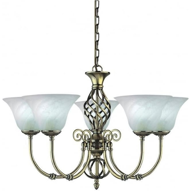 Searchlight 975-5 Cameroon 5 Light Ceiling Light Antique Brass