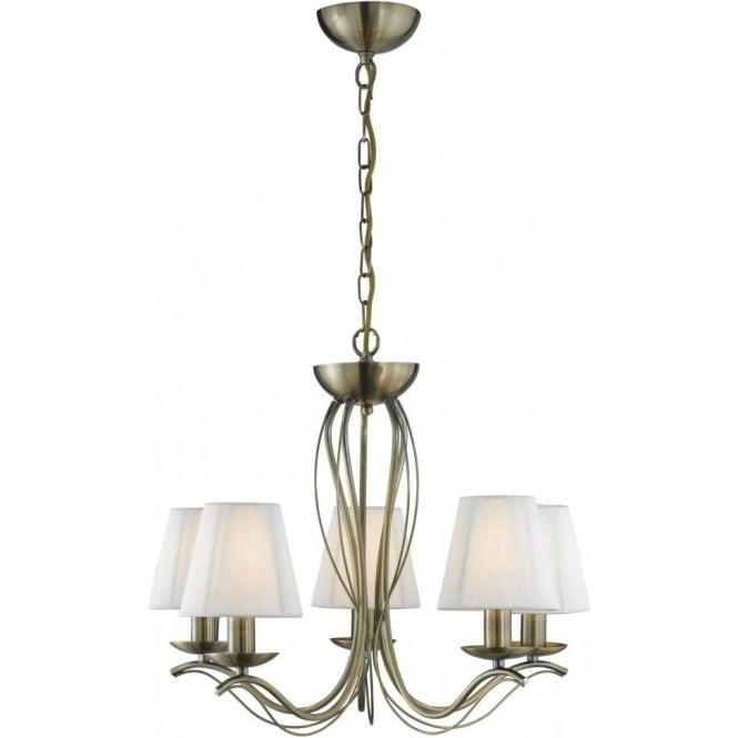 Searchlight 9825-5AB Andretti 5 Light Ceiling Light Antique Brass