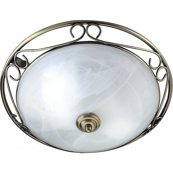 Searchlight 6436 Flush 2 Light Flush Ceiling Light Antique Brass