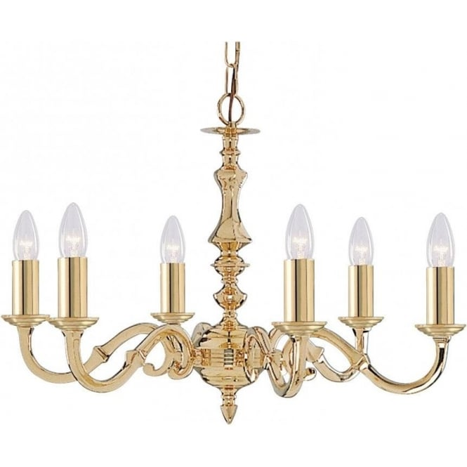 Searchlight 2176-6NG Seville 6 Light Ceiling Light Polished Solid Polished Brass