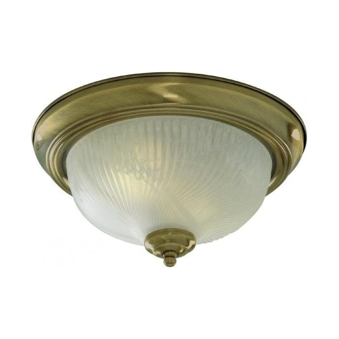 Searchlight 7622-11AB Flush 2 Light Flush Ceiling Light Antique Brass
