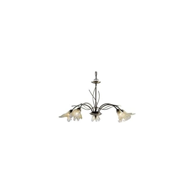 Searchlight 4495-5AB Lily 5 Light Ceiling Light Antique Brass