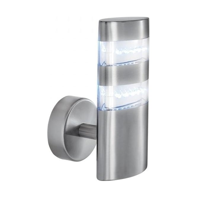 Osram External Wall Lights : Searchlight 5308 Outdoor LED Wall Light Satin Silver Ip44
