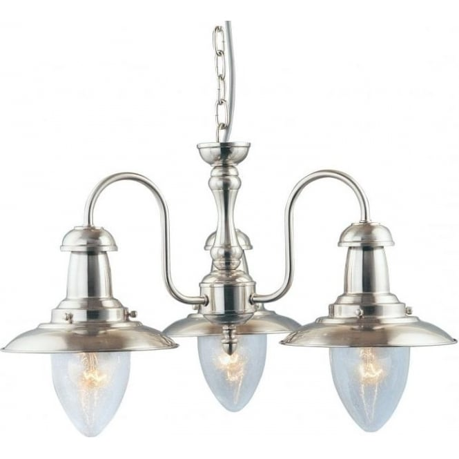 Searchlight 5333-3SS Fisherman 3 Light Ceiling Light Satin Silver