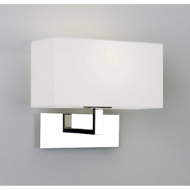 0865 Park Lane Wall Light Polished Chrome with White Shade. Bedroom Wall Lights