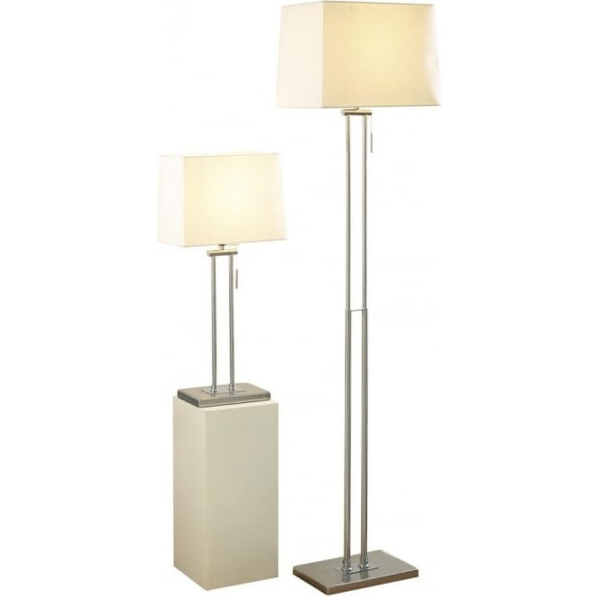 Dar PIC4946 Picasso Floor and Table Lamp Satin Chrome