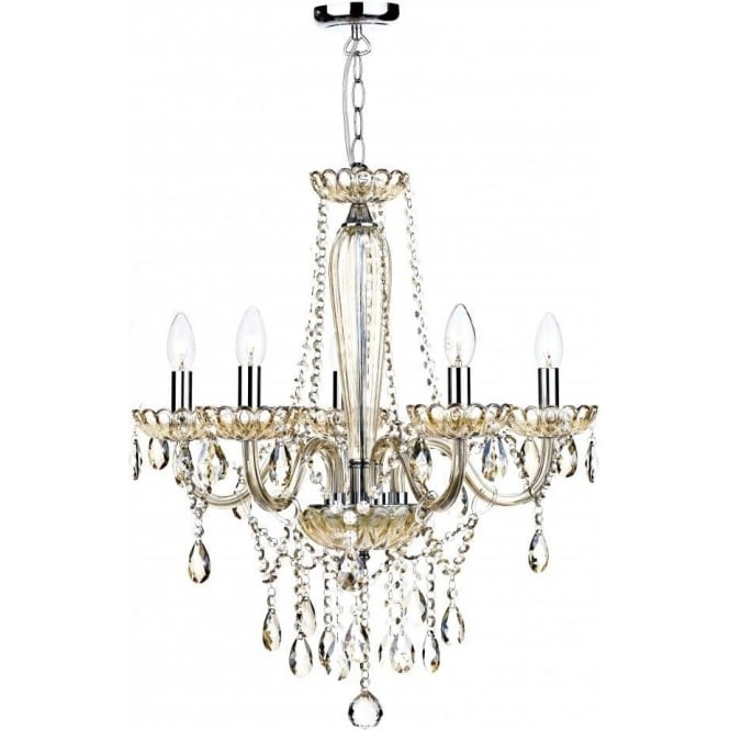 Dar RAP0506 Raphael 5 Light Ceiling Chandelier Champagne Glass