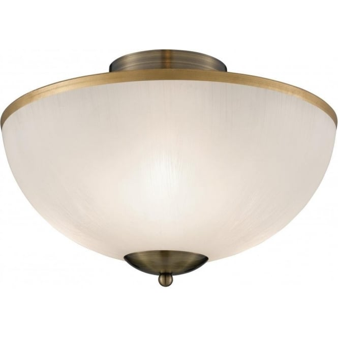 Searchlight 6580AB Brahama 3 Light Flush Ceiling Light Antique Brass