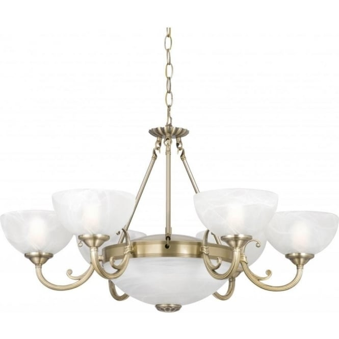 Searchlight 3778-8AB Windsor 8 Light Ceiling Light Antique Brass