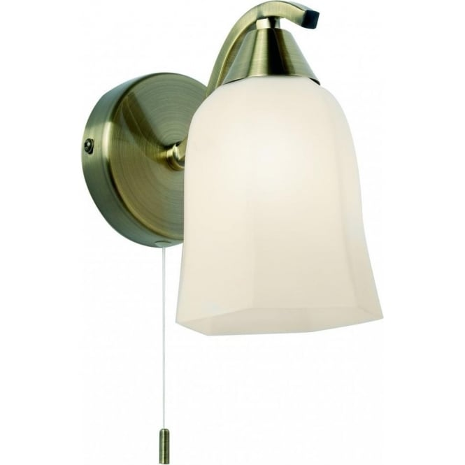 Endon 96971-WBAB Alonso 1 Light Switched Wall Light Antique Brass