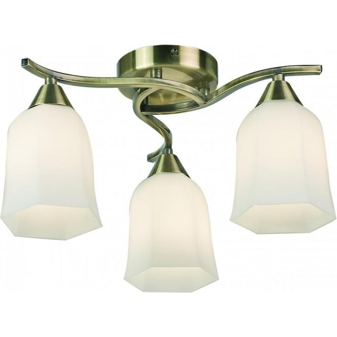 Endon 96973-AB Alonso 3 Light Ceiling Light Antique Brass