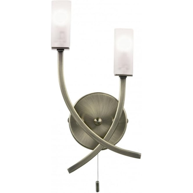 Endon 146-2AB Havana 2 Light Switched Wall Light Antique Brass
