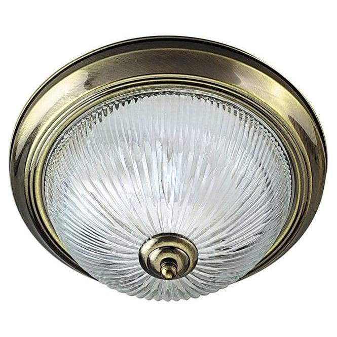 american diner flush 2 light flush ceiling light antique brass