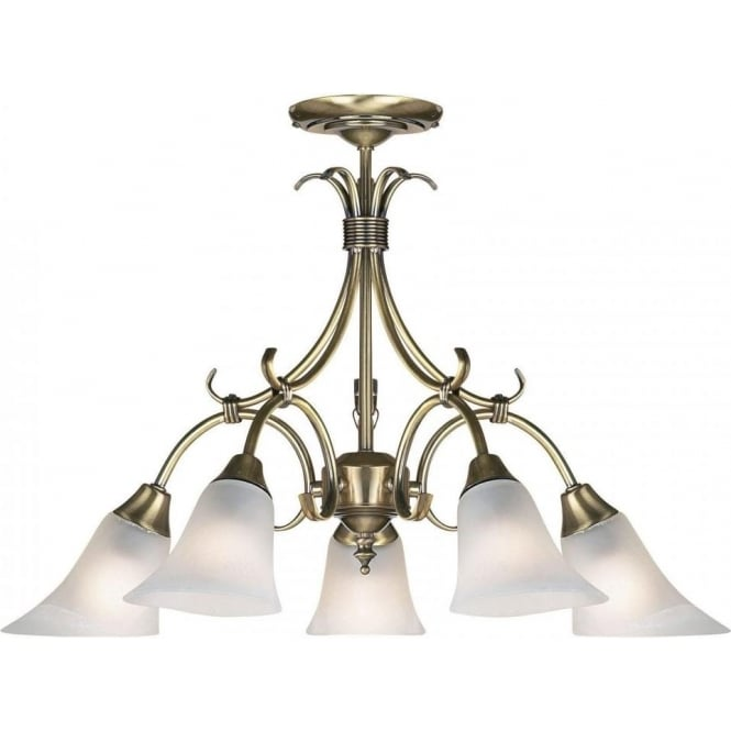 Endon 144-5AN Hardwick 5 Light Ceiling Light Antique Brass