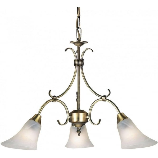 Endon 144-3AN Hardwick 3 Light Ceiling Light Antique Brass