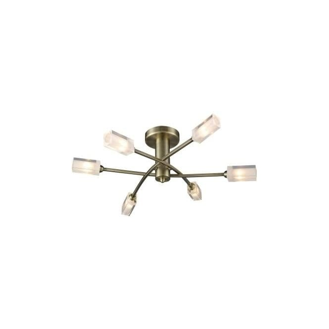 Dar MOR6475 Morgan 6 Light Ceiling Light Antique Brass