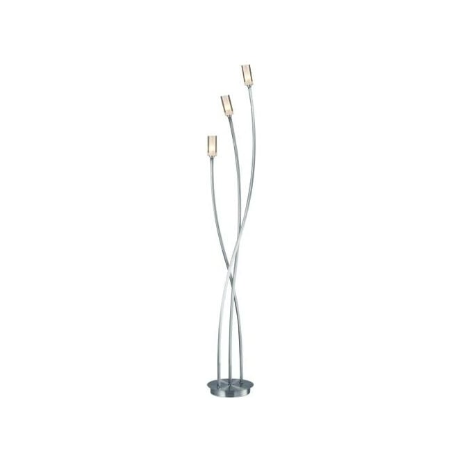 Dar MOR4946 Morgan 3 Light Floor Lamp Satin Chrome
