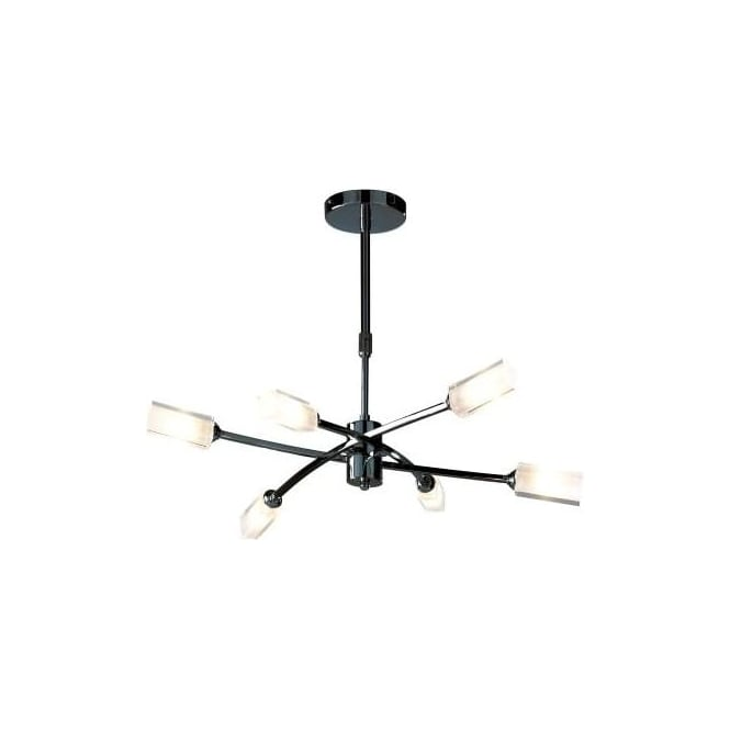 Dar MOR0667 Morgan 6 Light Ceiling Light Black Chrome