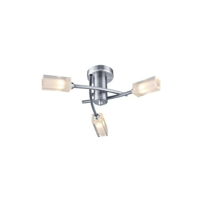 Dar MOR0346 Morgan 3 Light Ceiling Light Satin Chrome