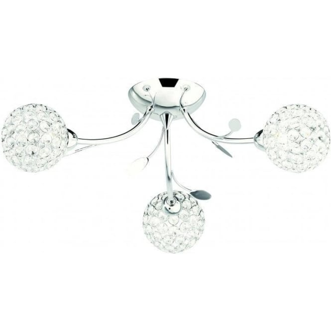 Searchlight 6573-3CC Bellis II 3 Light Semi Flush Ceiling Light Polished Chrome Glass