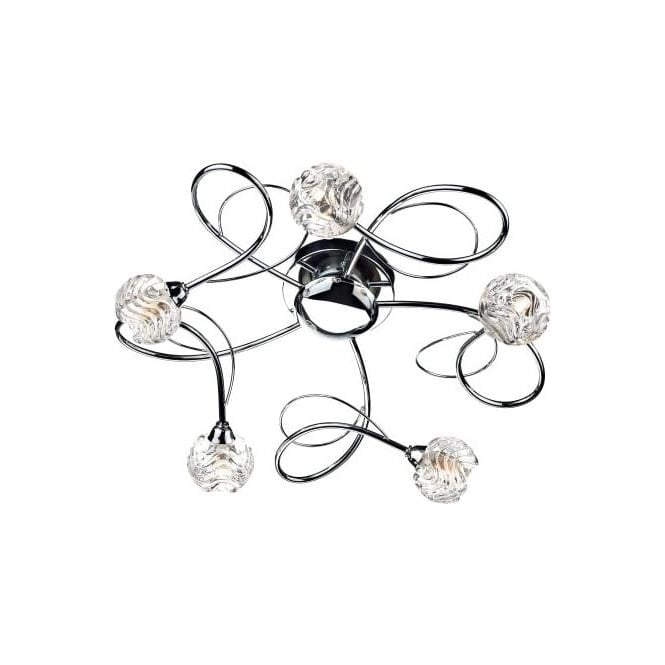 Dar ZEL5450 Zelda 5 Light Ceiling Light Polished Chrome