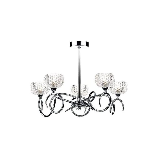 Dar ABS0550 Abstract 5 Light Ceiling Light Polished Chrome