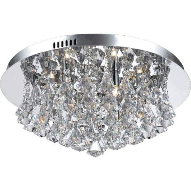 Impex Russell CFH011025/06/CH Parma 6 Light Flush Ceiling Light Polished Chrome