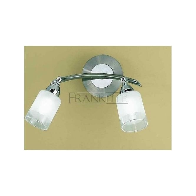 Franklite DP40022 Campani 2 Light Wall Light Satin Nickel and Chrome